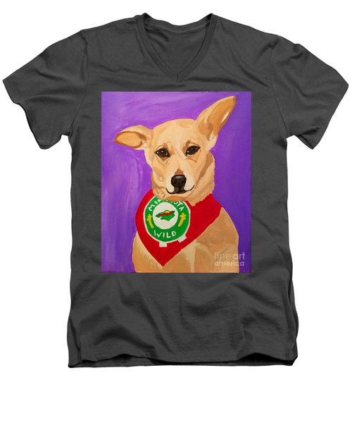 Men's V-Neck T-Shirt featuring the painting Floppy Ear by Ania M Milo