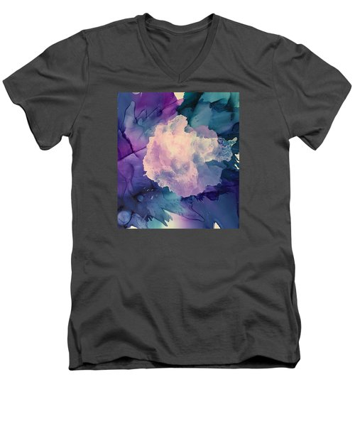 Floral Abstract Men's V-Neck T-Shirt by Suzanne Canner