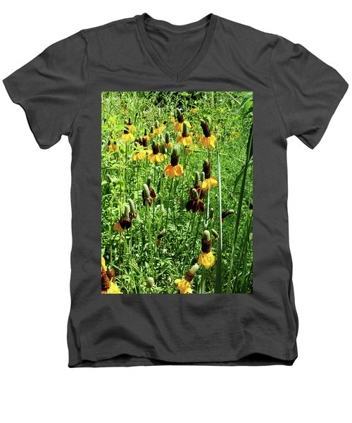 Floral Men's V-Neck T-Shirt by Cynthia Powell