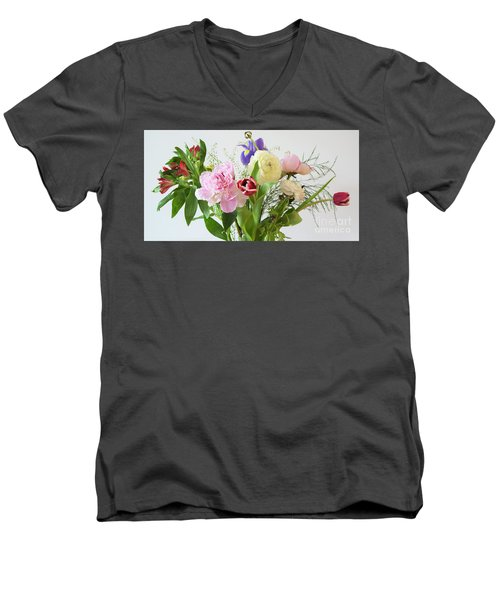 Men's V-Neck T-Shirt featuring the photograph Floral Display by Wendy Wilton