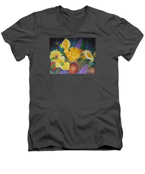 Floral Fireworks Men's V-Neck T-Shirt