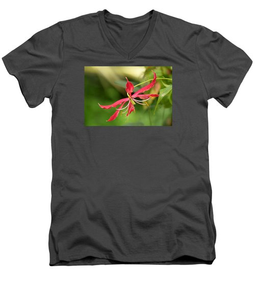 Men's V-Neck T-Shirt featuring the photograph Floral Flair by Deborah  Crew-Johnson