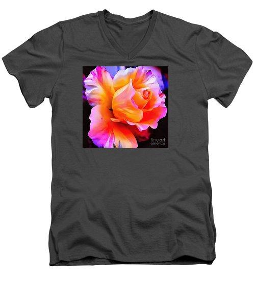 Floral Interior Design Thick Paint Men's V-Neck T-Shirt