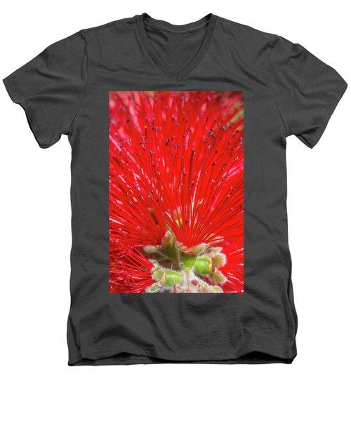 Floral Red Men's V-Neck T-Shirt