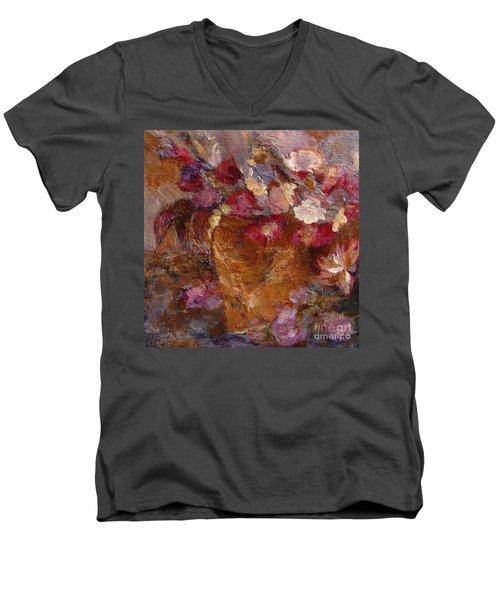 Floral Still Life Pinks Men's V-Neck T-Shirt