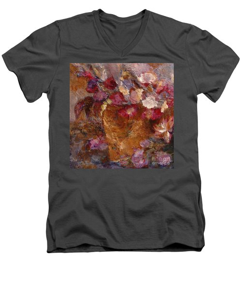Floral Still Life Pinks Men's V-Neck T-Shirt