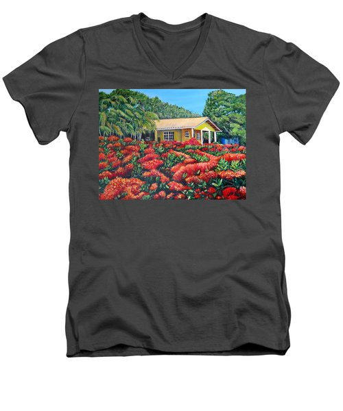 Floral Takeover Men's V-Neck T-Shirt by Marilyn McNish