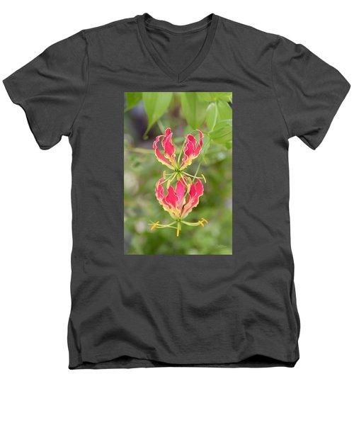 Floral Twirlers Men's V-Neck T-Shirt by Deborah  Crew-Johnson