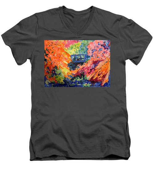 Floral View Of The Bridge Men's V-Neck T-Shirt by Esther Newman-Cohen