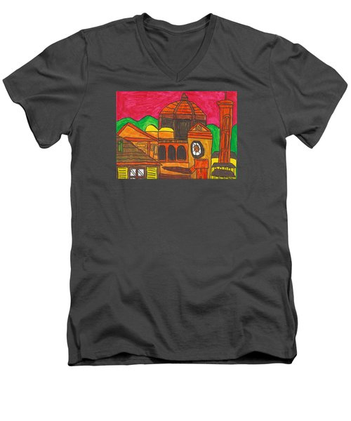 Men's V-Neck T-Shirt featuring the painting Florence by Artists With Autism Inc