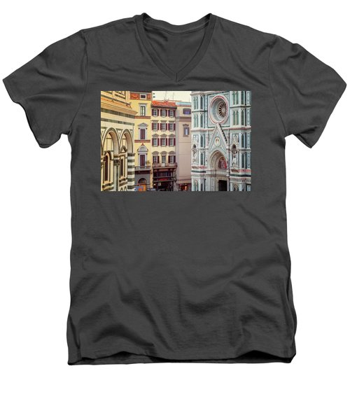 Men's V-Neck T-Shirt featuring the photograph Florence Italy View by Joan Carroll