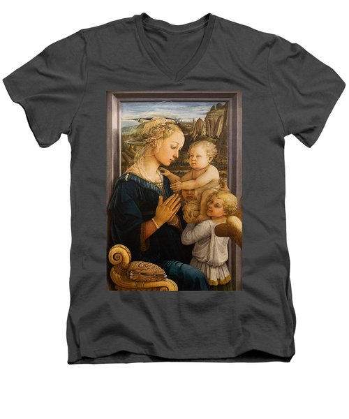 Florence - Madonna And Child With Angels- Filippo Lippi Men's V-Neck T-Shirt