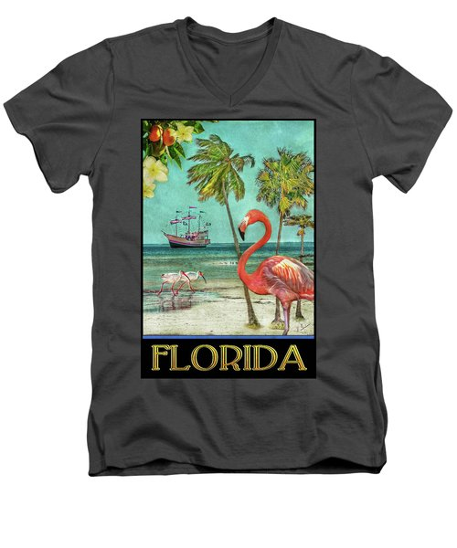 Men's V-Neck T-Shirt featuring the photograph Florida Advertisement by Hanny Heim