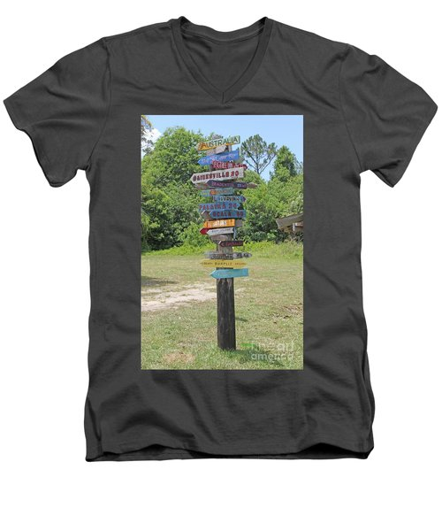 Men's V-Neck T-Shirt featuring the photograph Florida Crossroads 3 by Dodie Ulery