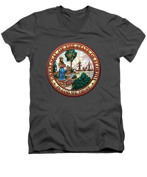 Florida State Seal Over Blue Velvet Men's V-Neck T-Shirt