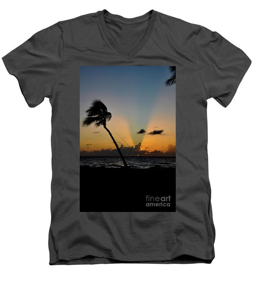 Men's V-Neck T-Shirt featuring the photograph Florida Sunrise Palm by Kelly Wade