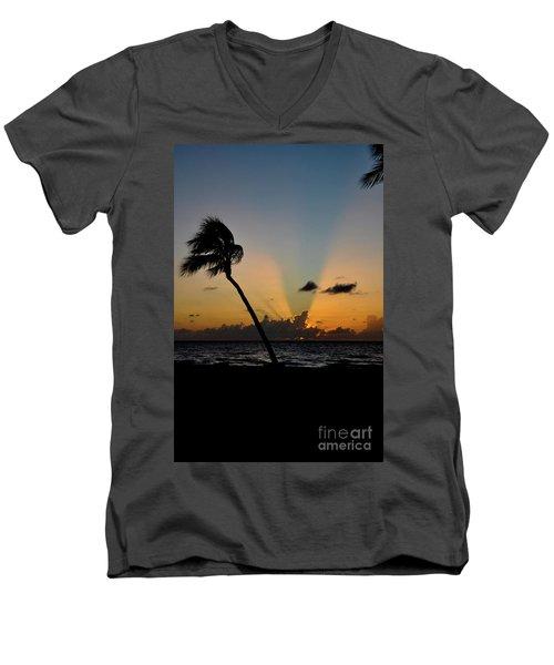 Florida Sunrise Palm Men's V-Neck T-Shirt
