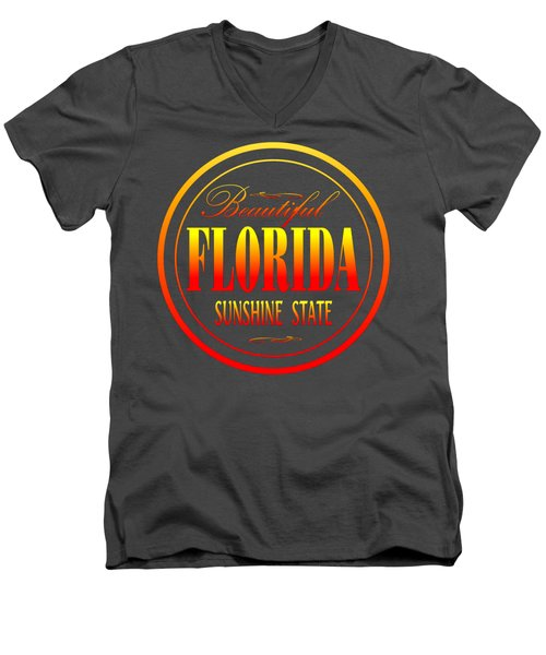 Florida Sunshine State Design Men's V-Neck T-Shirt