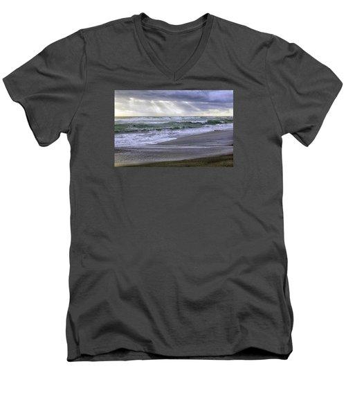 Florida Treasure Coast Beach Storm Waves Men's V-Neck T-Shirt by Betty Denise