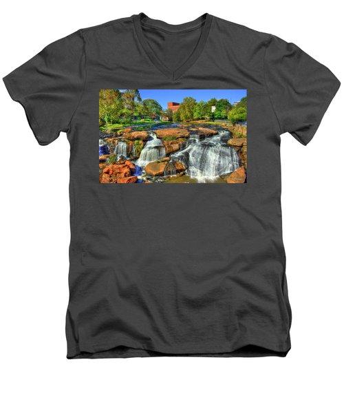 Flow On Reedy River Falls Park Art Greenville Sc Men's V-Neck T-Shirt by Reid Callaway