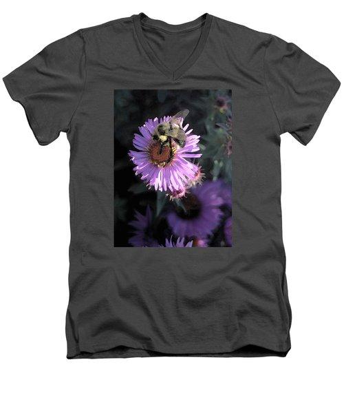 Flower And Bee Men's V-Neck T-Shirt