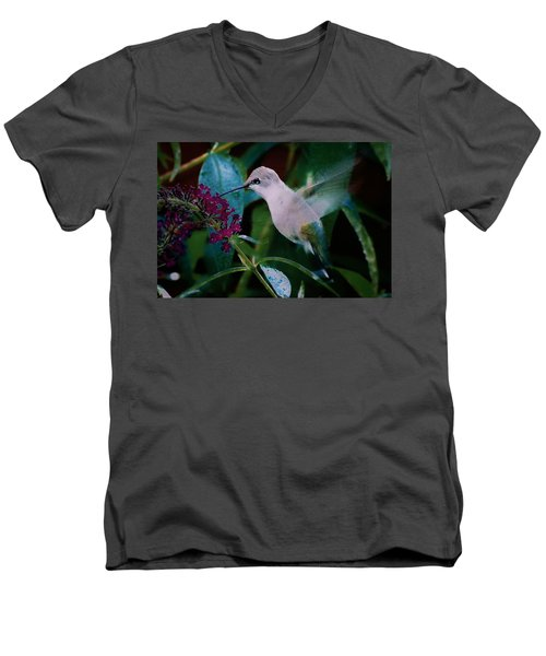 Flower And Hummingbird Men's V-Neck T-Shirt