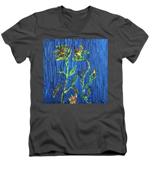 Men's V-Neck T-Shirt featuring the painting Flower Dance by Vadim Levin