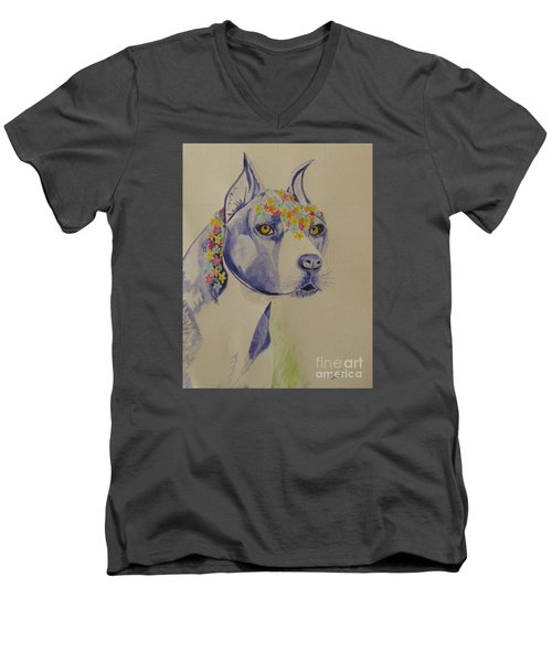 Flower Dog 1 Men's V-Neck T-Shirt by Hilda and Jose Garrancho