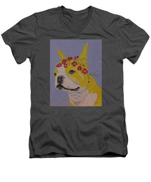 Flower Dog 5 Men's V-Neck T-Shirt