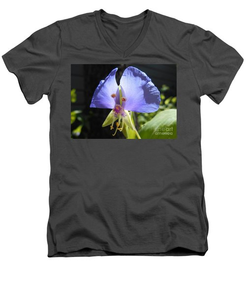 Flower Face Men's V-Neck T-Shirt by Felipe Adan Lerma