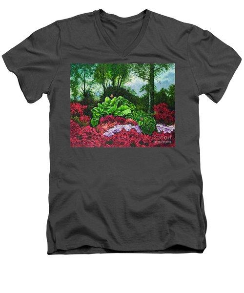 Flower Garden X Men's V-Neck T-Shirt by Michael Frank
