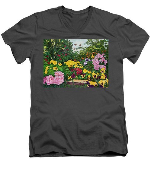 Flower Garden Xii Men's V-Neck T-Shirt by Michael Frank