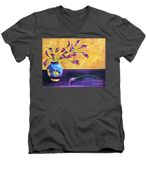 Flowers In Blue Vase Men's V-Neck T-Shirt