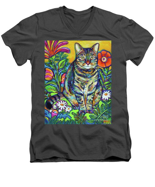 Men's V-Neck T-Shirt featuring the painting Flower Kitty by Robert Phelps