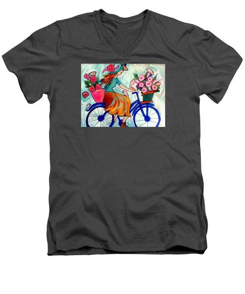 Flower Lady Men's V-Neck T-Shirt