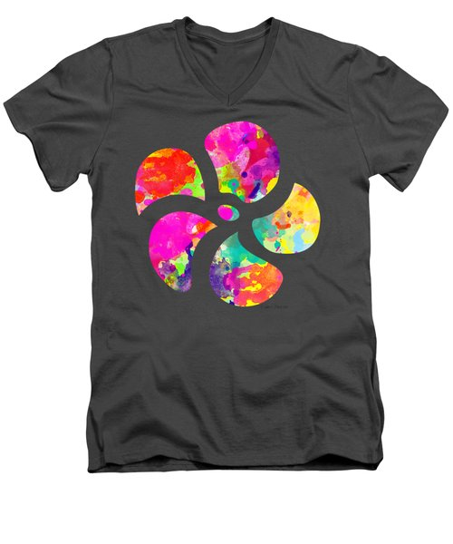 Flower Power 1 - Tee Shirt Design Men's V-Neck T-Shirt by Debbie Portwood