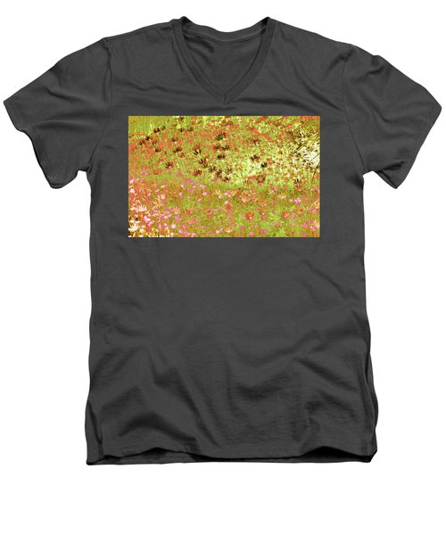 Men's V-Neck T-Shirt featuring the digital art Flower Praise by Linde Townsend