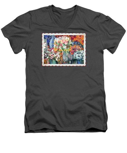 Men's V-Neck T-Shirt featuring the photograph Flower Shop Window by Shirley Moravec