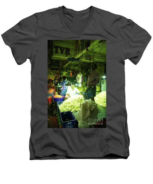 Men's V-Neck T-Shirt featuring the photograph Flower Stalls Market Chennai India by Mike Reid