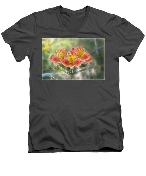 Flower Streaks Men's V-Neck T-Shirt