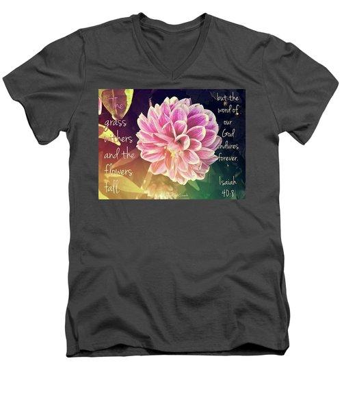 Flower With Scripture Men's V-Neck T-Shirt
