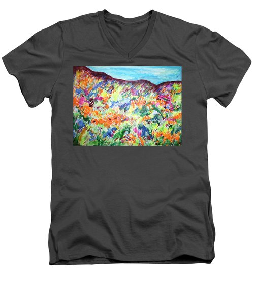 Men's V-Neck T-Shirt featuring the painting Flowering Hills by Esther Newman-Cohen