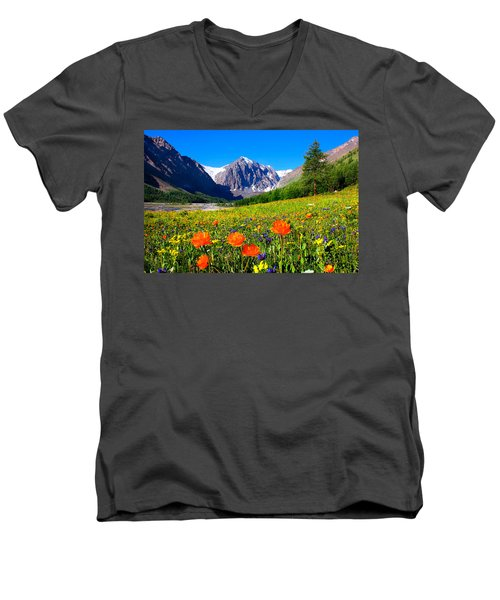 Flowering Valley. Mountain Karatash Men's V-Neck T-Shirt