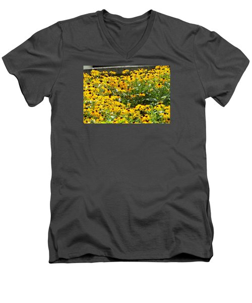 Men's V-Neck T-Shirt featuring the photograph Flowers A Go Go by Jake Hartz
