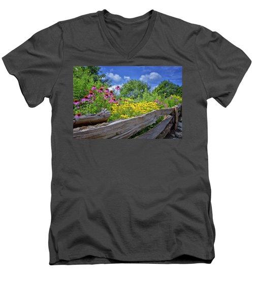 Flowers Along A Wooden Fence Men's V-Neck T-Shirt