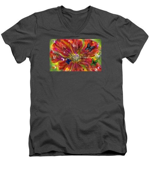 Men's V-Neck T-Shirt featuring the digital art Flowers And Butterflies by Darren Cannell
