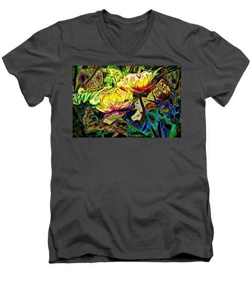 Flowers And Butterfly Men's V-Neck T-Shirt