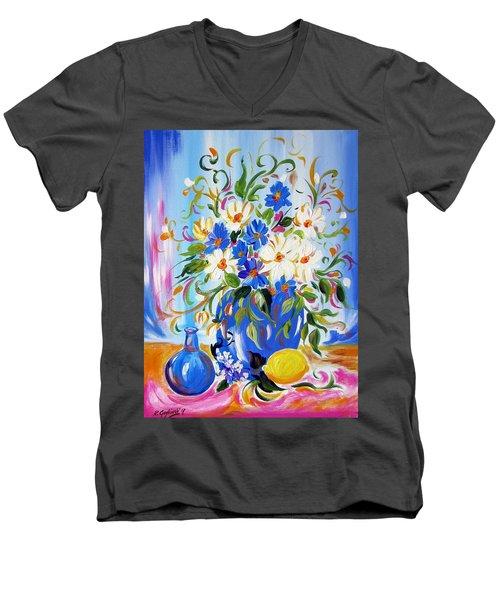 Flowers And Lemon Men's V-Neck T-Shirt