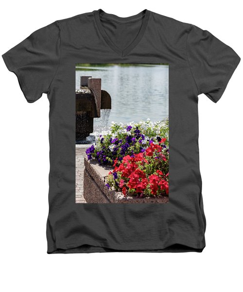 Flowers And Water Men's V-Neck T-Shirt