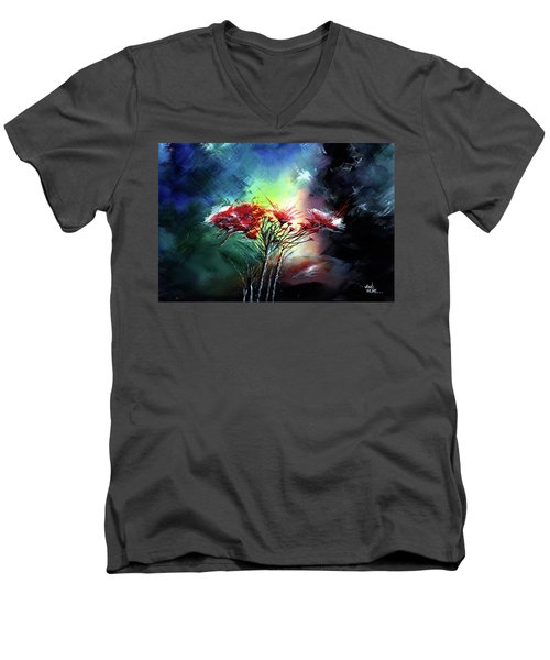 Men's V-Neck T-Shirt featuring the painting Flowers by Anil Nene
